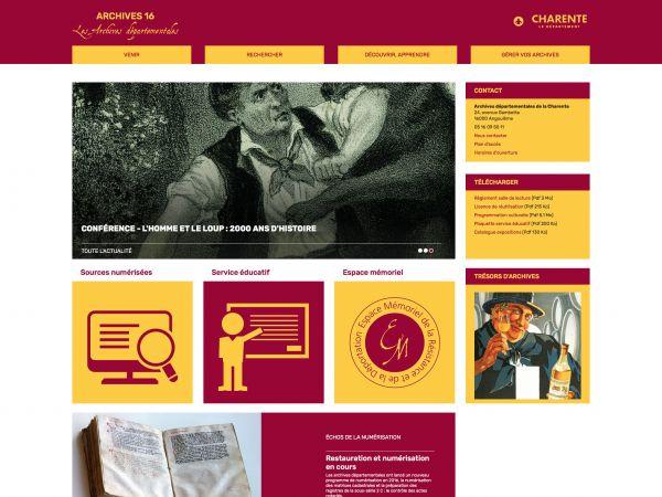Accueil des Archives de la Charente
