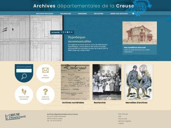 Accueil des archives de la Creuse