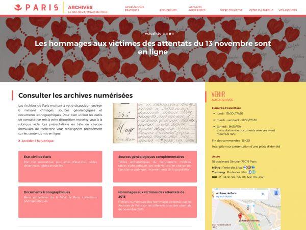 Page d'accueil des Archives de Paris