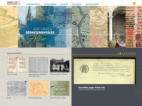 Accueil du site des Archives de l'Allier