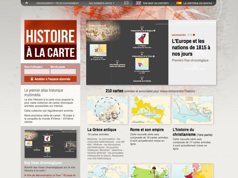 l histoire à la carte Histoire à la carte   1 égal 2, agence de création de sites
