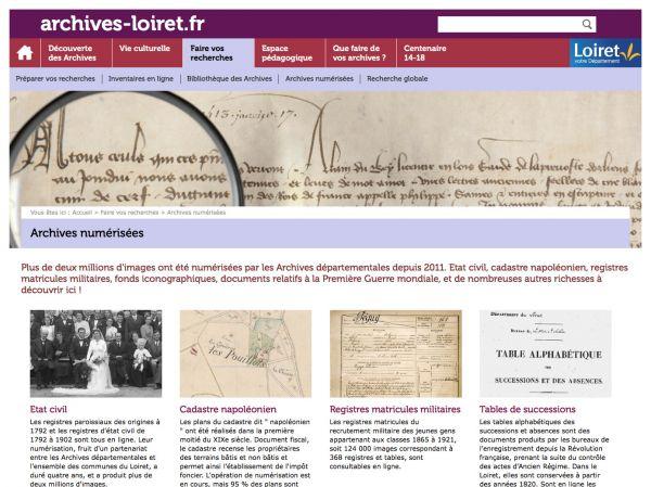 Archives numérisées du Loiret