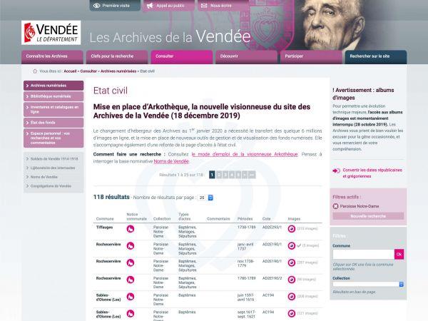 État civil des archives de la Vendée